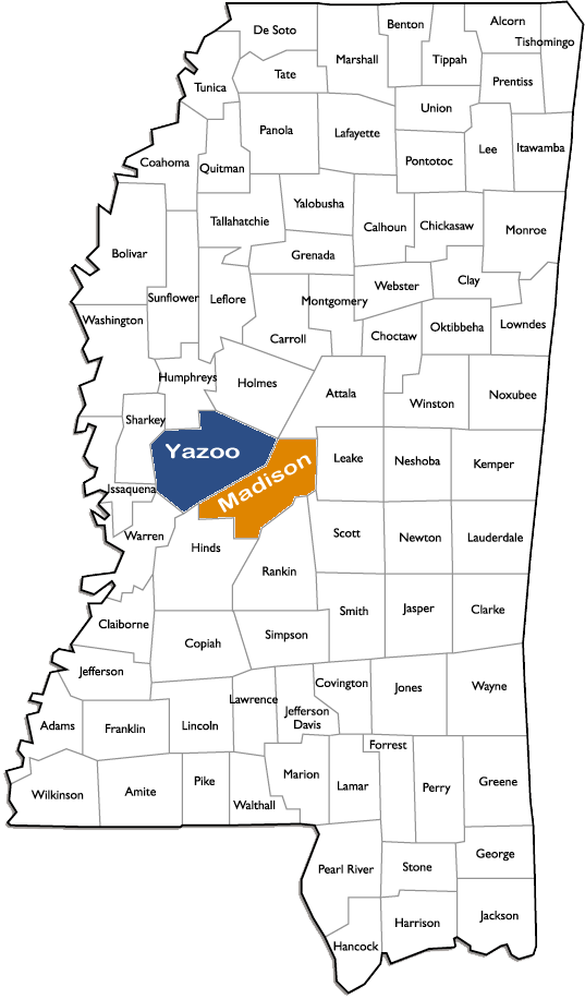 Current Areas of Operation in Mississippi